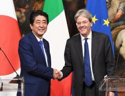 日伊首脳、保護主義にG7で対抗 サミットへ連携