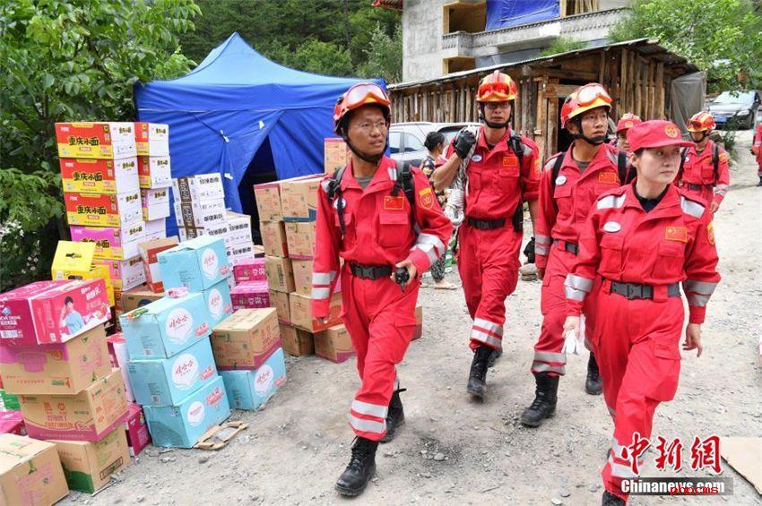 中国国際救援隊、九寨溝地震被災地の実地調査開始