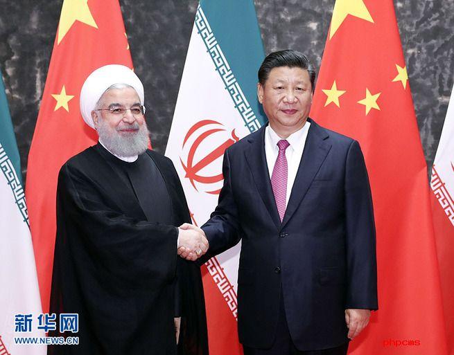 图片默认标题_fororder_习近平同伊朗总统鲁哈尼举行会谈